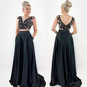 Black Lace Aline Prom Pageant Dress